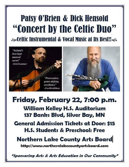 Patsy O'Brian and    will be in concert in Silver Bay on Friday.