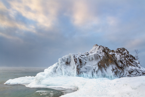 Sugarloaf by Nich Olejniczak, is one of the photographs in the Polar Vortex exhibit at Tettegouche State Park.