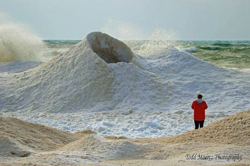 An ice volcano on Lake Michigan by Todd Maertz.