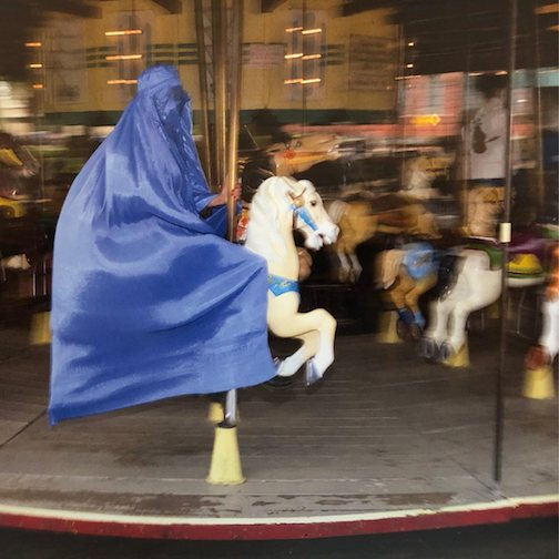 """On the Carousel,"" detail. Photograph by Behnaz-Babazadeh, one of her Burka series."