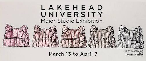 The Lake University Major Studio Exhibition is at Thunder Bay Art Gallery.