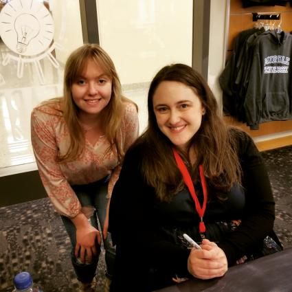Sylvia Berka, left, at a young writers festival in Tennessee with Becky Albertalli.