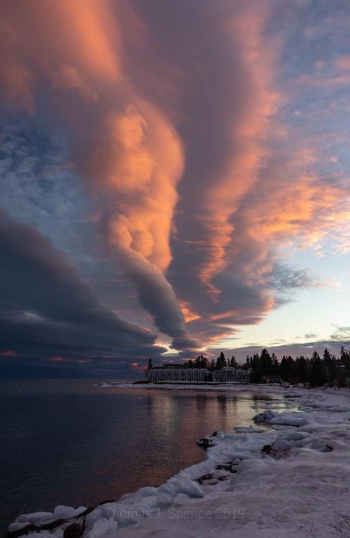 """The tail end of a sysytem this evening at sunset in Tofte. I usually don't see things in the clouds too much, but I did in this one,"" by Thomas Spence."