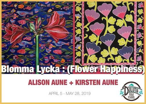 Alison Aune and Kirsten Aune open a show at the Duluth Folk School April 5. The show continues through May. 28