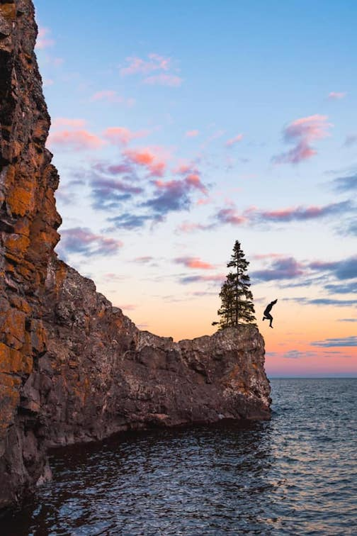 George listrup jumps into Lake Superior, April 5, by Brandon Olmscheid.
