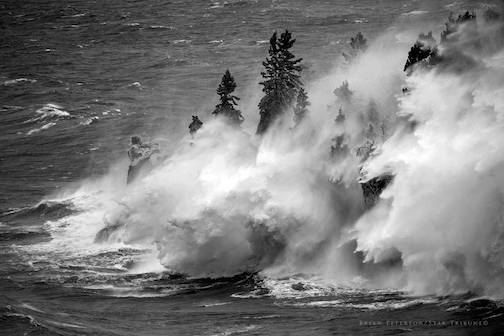Crazy Waves on Lake Superior this afternoon (April 11) by Brian Peterson.