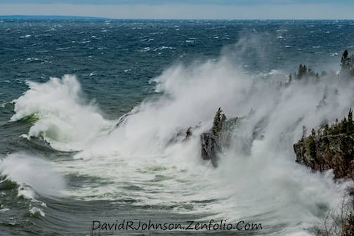 Lake Superior was kicking up a heck of a lather yesterday by David Johnson.