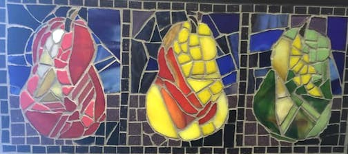3 Pears by Bonnie Gay Hedstrom, stained glass, Johnson Heritage Post.