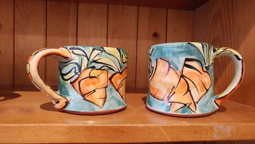 Duluth Pottery is open for the Gallery Hop. Pictured are a few of Karin Kraemer's mugs.