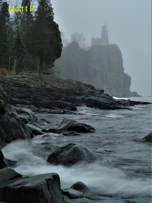 A foggy day at Split Rock by Matthew Pastick.
