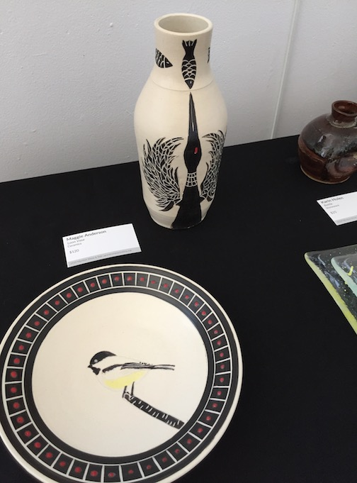 Bird Plate and Loon Vase by Maggie Anderson, porcelain, Art Colony Member Show.