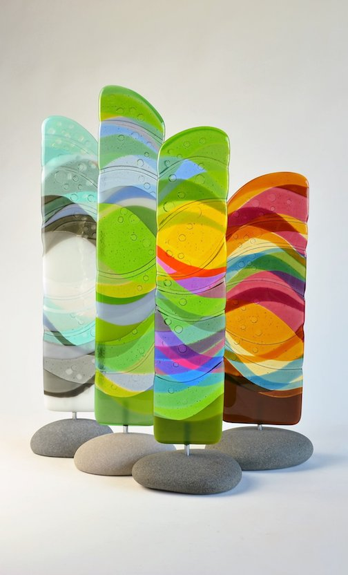 The Seasons. Fused glass by Nancy Seaton.