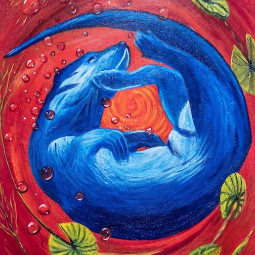 "Blue Otter in Red Water (detail) by Karen Savage, one of the works in the ""Intersections"" exhibit at the Tweed."