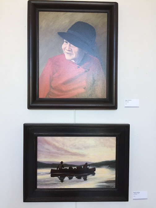 "Paintings by Roger Neilson. At top, ""Peek a Boo,"" below, ""Looking for Camp."""