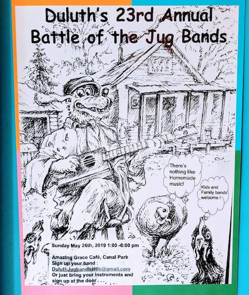 The Battle of the Jug Bands will be held at Amazing Grace in Duluth on Sunday.