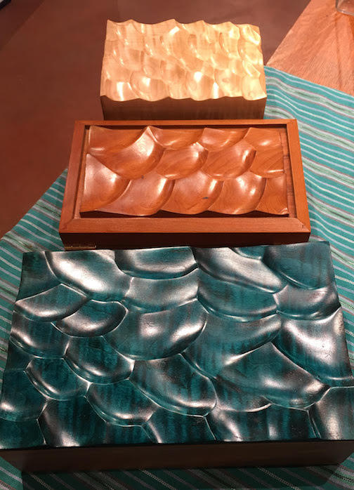 Wave Boxes by Peter Hess are at Betsy Bowen's Studio Gallery.