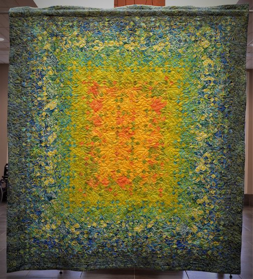 Carol Harris' quilt is on display at Drury Lane Books. The raffle drawing for the quilt will be Aug. 25.