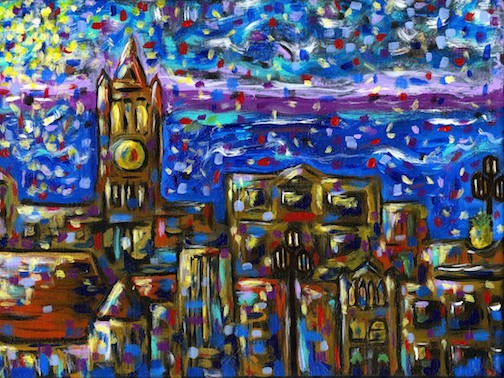 This print by Jeffrey Schmidt of Downtown Duluth will be available during the Arts Walk.