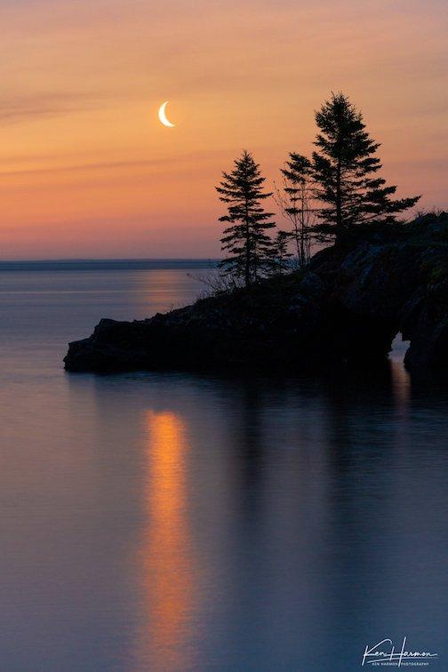 Crescent Moonrise Over Hollow Rock by Ken Harmon