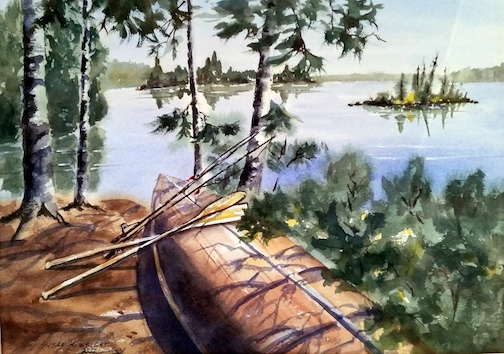 """""""Canoe in Waiting"""" by Susan Wright is one of the paintings in the new exhibit at the Johnson Heritage Post. The exhibit opens Friday."""