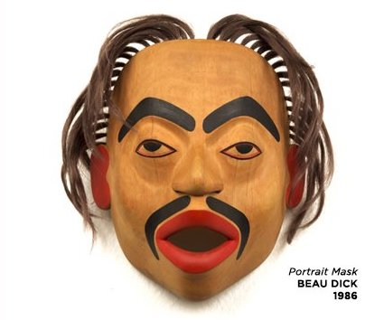 """Portrait Mask"" by Beau Dick is one of the Northwest Coast masks currently on exhibit at the Thunder Bay Art Gallery."