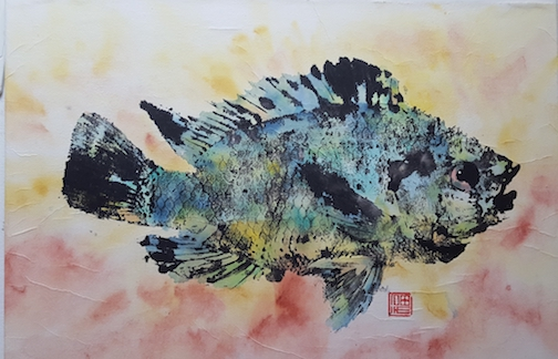 Fish print by Cameron Norman.
