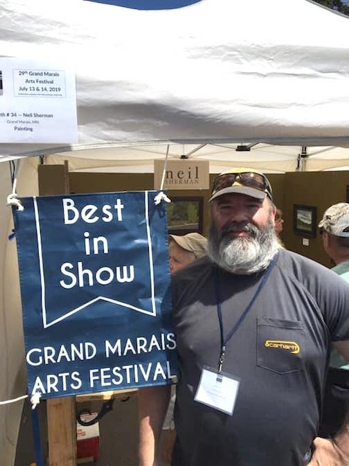 Plein air painter, Neil Sherman, received the Best of Show Award at the Grand Marais Arts Festival last weekend.