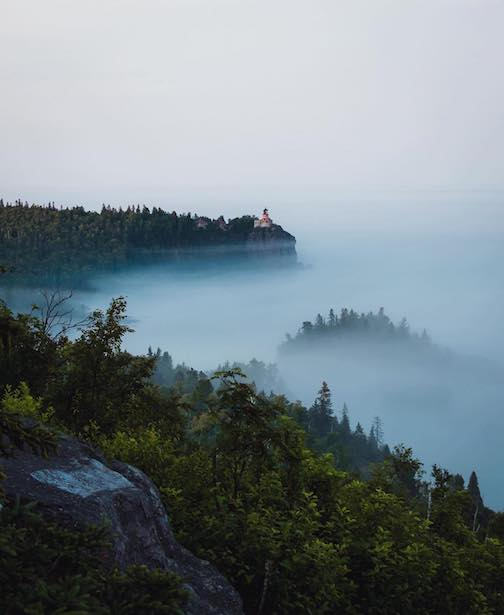 Low fog and Split Rock Lighthouse by Reece Hickman.