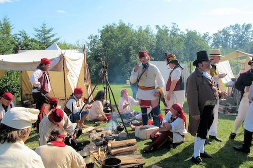 Re-enactors gather at the Encampment Village on the grounds of the National Monument in Grand Portage for Rendezvous Days.