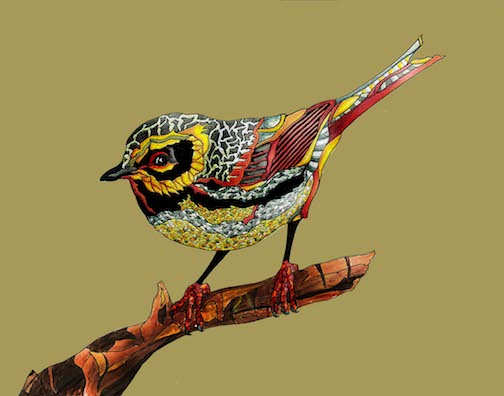 """Paige,"" bird rendition by Kyle Voigtlander. His work is featured in the Great Hall at Tettegouche State Park this month."