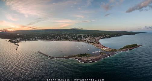 Panoramic image of Grand Marais at sunset by Bryan Hansel.