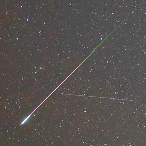 James W. Young took this photo of a few meteors in Oregon.