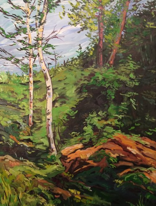 """Twin Birch"" by Douglas Ross is one of the paintings on exhibit at the Johnson Heritage Post."