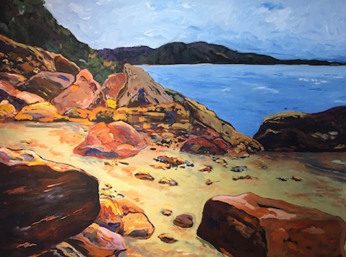 """""""Shoreline near Siver City, Mich."""" by Douglas Ross, is one of the plein air paintings at the Johnson Heritage Post."""