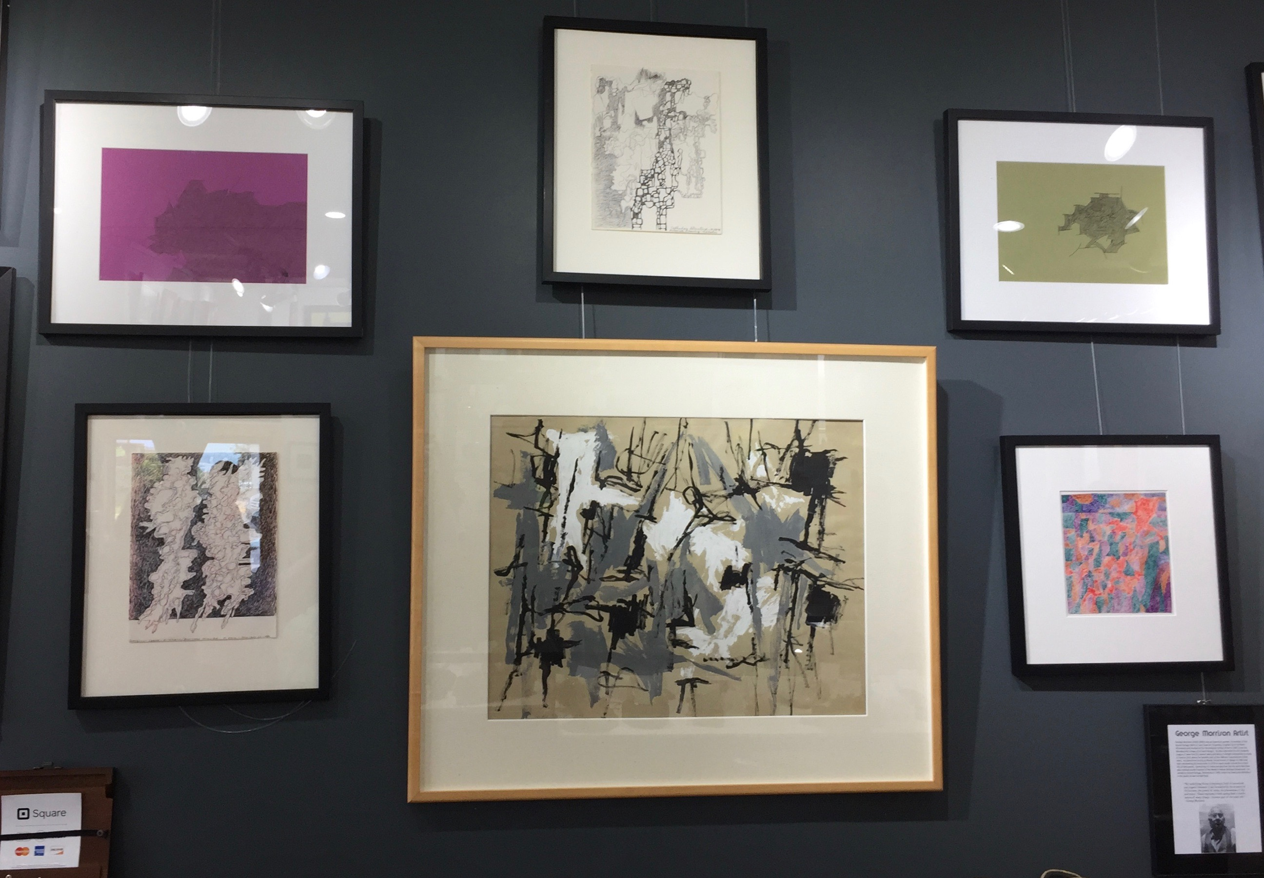 A few of George Morrison's prints on exhibit at the Yellow Bird Fine Art Gallery.