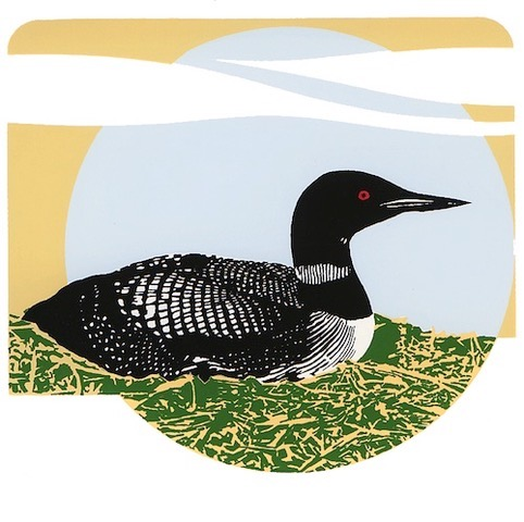 Common Loon, silk screen, by Jim Ringquist.