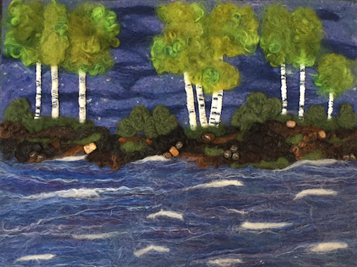 Fiber art by Melanie Mathieson of Thunder Bay is currently on view at the Angry Trout Cafe.