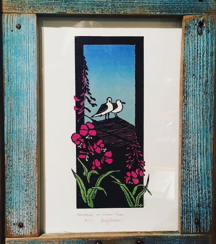"""Isle Royale Neighbors,"" woodcut print, by Betsy Bowen, is one of the pieces in her new exhibit, Rare Treasures. This particular print was created during an artist residency on Isle Royale."