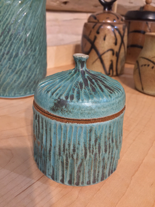 A jar by Natalie Sobanja. She is the Artist of the Month at the Johnson Heritage Post and is exhibiting a collection of her covered jars and mugs.