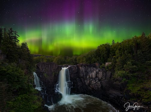 The High Falls and the Northern Lights by Joe Garza.