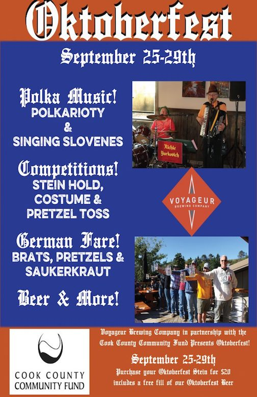 Voyageur Brewing Co. celebrates Oktoberfest next week, a fundraiser for the Cook County Community Fund.