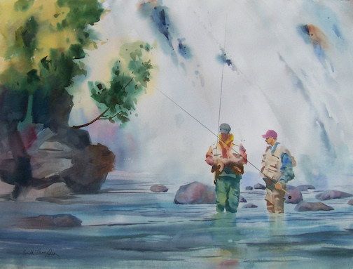 """Fly Fishing by Keith Thompson. The painter is exhibiting his work in the Great Hall at Tettegouche State Park in September, with an opening reception at 7 p.m. Friday."