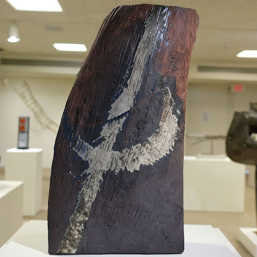 "This stoneware sculpture by Hayashi Kaku is entitled ""Kegon no Taki (Kegon Falls) and is on exhibit at the Tweed Museum of Art."