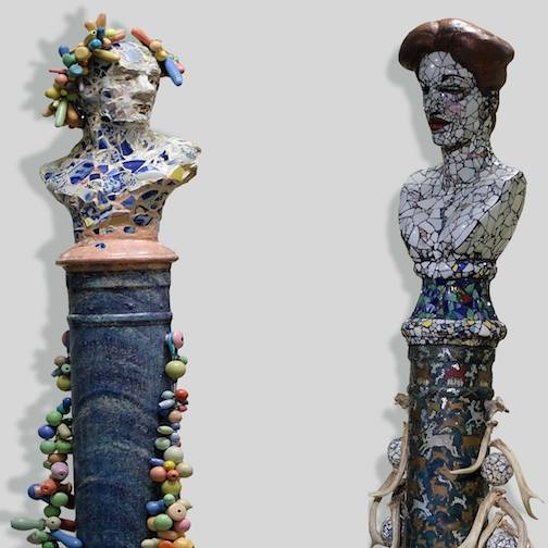 "Two sculptures by Sterling Rathsack are on exhibit at the Tweed Museum of Art: ""Herm,""  left and ""Artemis."""