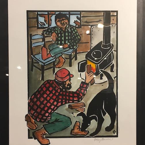 "A hand-colored production original from Betsy Bowen's book, ""Great Wolf and the Good Woodsman"" is one of the rare treasures at the Betsy Bowen Gallery & Studios."