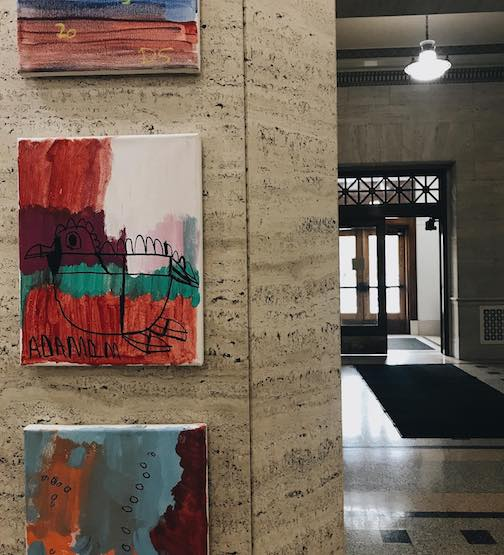 Three works on display at  City Hall in Duluth, shown from upper to lower: Pieces-shown-from-upper-to-lower-are-Derek,Minnesota-Twins; Adam Demenge, Bird and -Kris-Blanchard, Color Canvas1.