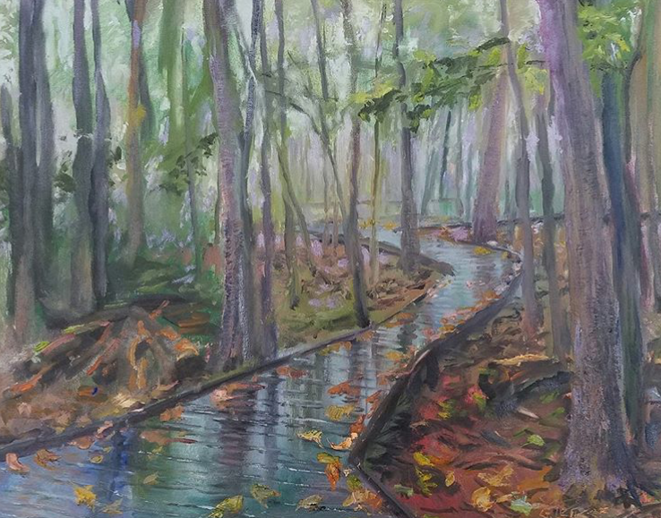 """Rain makes the difference,"" by Greg Lecker. The painter opens an exhibit at Tettegouche State Park on Friday."