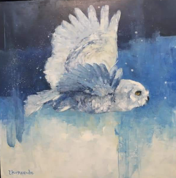 Snowy owl by Deb Kierkeede is one of the paintings currently on view at the Johnson Heritage Post.