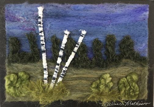 This needle-felted painting by Melanie Mathieson is one of the works on exhibit at the Angry Trout.