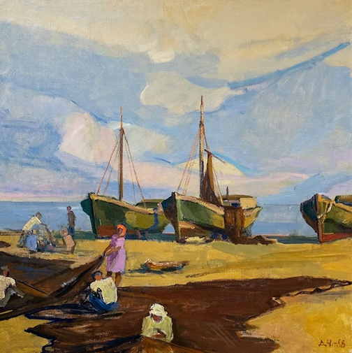 """Nets at the Coast"" by Daniel Cherkes, one of the works in the Tweed's Art in Conflict exhibit."